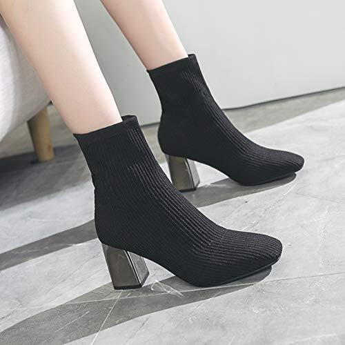 Shukun Enkellaarzen Mid Boots Herfst En Winter Stretch Gebreide Sokken Laarzen Single Boots Hoge hak Laarzen Dikke Met