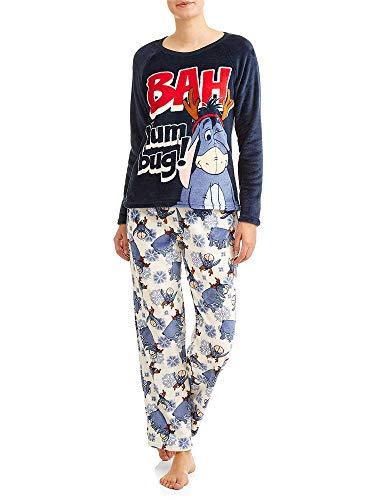 Disney Women's Eeyore Super Minky Plush 2 -Piece Pajama Set (Large 12-14, Blue Multi)