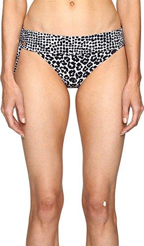 Stella McCartney Women's Mixed Animal and Elastic Fold Down Bikini Bottom, Midnight Blue Leopard/Giraffe Print, LG