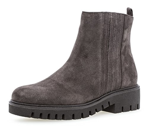 Gabor Damen Chelsea Boots 92.786,Frauen Stiefel,Halbstiefel,Stiefelette,Bootie,Schlupfstiefel,gefüttert,Winterstiefeletten,Blockabsatz 2cm,Einlegesohle,G Weite (Normal),Dark-Grey (Micro),UK 6