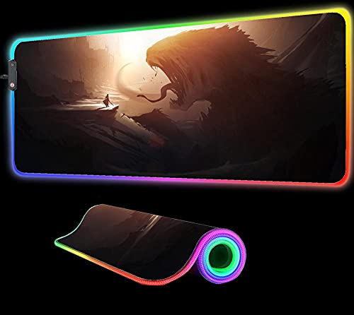Mouse Pads Fantasy Man VS Monster Gaming Mouse Pad RGB LED Gaming Gamer Large Big Computer Backlight XXL Keyboard Desk Mat 35.43 inch x15.74 inch
