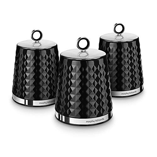 Morphy Richards Dimensions Set of 3 Round Kitchen Storage Canisters, Black