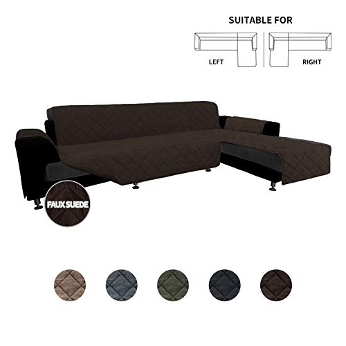 Easy-Going High Quility Sofa Slipcover L Shape Suede Sofa Cover Reversible Sectional Couch Cover with Foam Stick Chaise Lounge Cover Furniture Protector for Pets Kids Dog(X-Large,Chocolate/Chocolate)