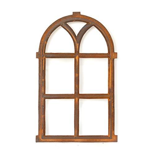 Antikas   Eisenfenster mit Rundbogen   ca. 66 x 39 cm   Als Landhausfenster, Gartenfenster und Garagenfenster