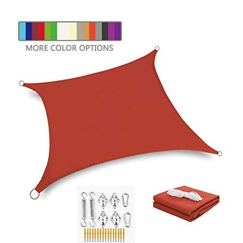 Toldo Vela de Sombra Rectángulo Sombra Sombra Vela con Kit de fijación Bloque UV Bloqueo Impermeable Toldo de protección Solar con Cuerda Libre Sombra Sombra Shade Bead Tweing
