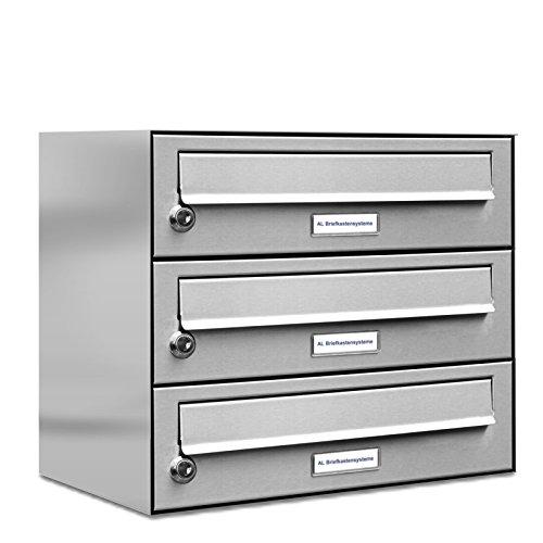 AL Briefkastensysteme 3er Briefkastenanlage Edelstahl, Premium Briefkasten DIN A4, 3 Fach Postkasten modern Aufputz