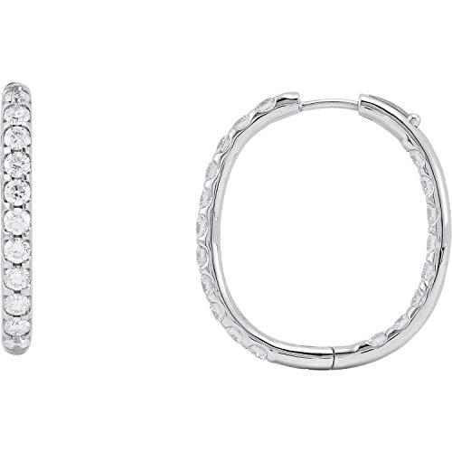 Orecchini a cerchio da donna in oro bianco 14 kt con 3 diamanti CTW da interno e esterno, 27 mm