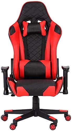 WANGXIAOYUE Sedie per Computer Sedie Video Sedie da Ufficio Sedie da Ufficio con Supporto Lombare Sedia Girevole con bracciolo da Corsa Alto Sedia inginocchiata (Color : Red)