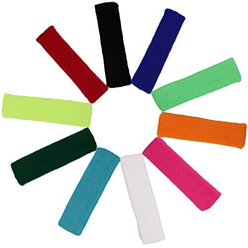 BELLE VOUS Schweißbänder (10 Stück) - 17cm Elastische Dehnbare Stirnbänder für Herren, Damen und Kinder - Sport Schweissband zum Fahrrad Fahren, Cycling, Gymnastik und Athletik