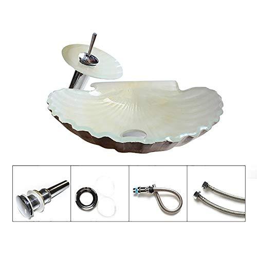 12L Shell Form Hartglas Waschbecken, Aufsatzbecken Waschschale Waschtisch, Countertop-Wanne Retro, Glas Waschbecken für Hotel,B