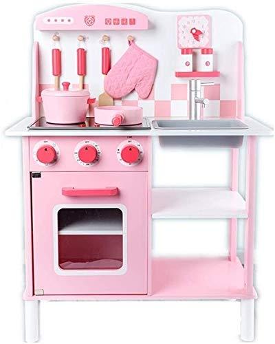 Juguete de cocina para niños Educational Cocina de madera Play House Girl Juguete alto 83 cm de ancho 60 cm Simulación grande Vajilla Carta de utensilios Playset Regalos (Color: Azul, Tamaño: 60x30x83