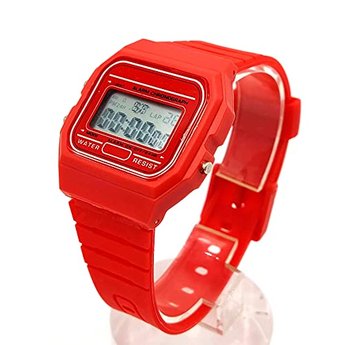 BDM Reloj clásico Casiopea Original para Hombre Mujer, niña o niño de Pulsera Digital con Alarma. Un Regalo Vintage. - Rojo
