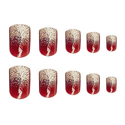 Rpbll 24Pcs Fashion Wine Red False Nails Glitter Silver Fake Nails Full Cover Acrylic Nails DIY Manicure Tool square press on nails As shown