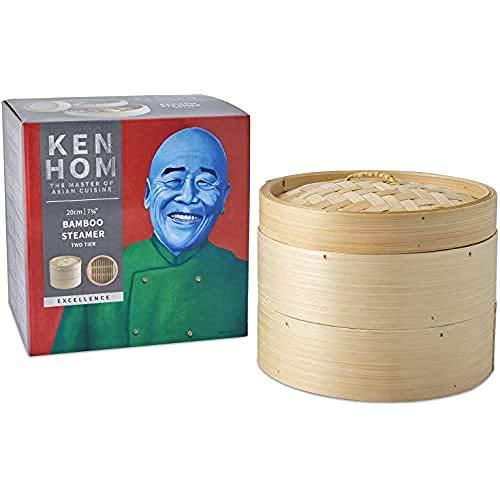 Ken Hom Kh506 Excellence Vaporiera su 2 Piani, Bambù, Crema, 20 Cm
