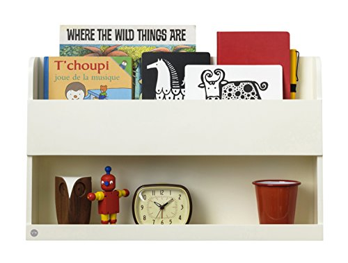 Tidy Books ® Estante para cama litera, Estanterias flotantes, Librería infantil, Madera, Color crema, 33 x 53 x 12 cm, ECO friendly, Hecho a mano, Original Bunk Bed Buddy™