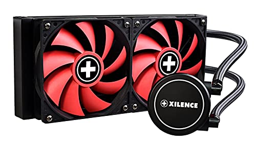 Xilence LiQuRizer | Liquid CPU Cooler | Wasserkühlung | LQ240 | Multi Sockel | AiO | 240 mm Radiator | 2x 120 mm PWM Lüfter | 300 Watt TDP | AMD | Intel | rot/schwarz