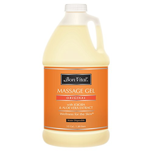 Bon Vital' Original Massage Gel for a Versatile Massage Foundation to Relax Sore Muscles & Repair Dry Skin, For Massage Therapists Who Want Superior Glide & Gentle Friction for Clients, 1/2 Gal Bottle