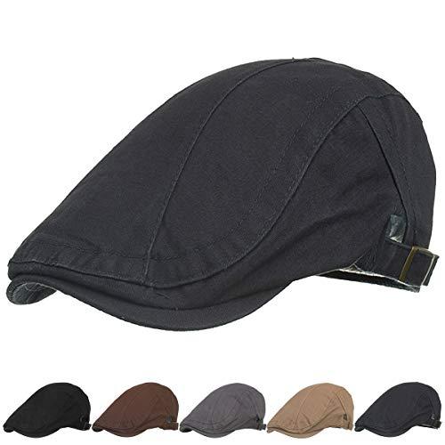 Unisex Cotton Newboys Flat Hats for Men Top Hat...