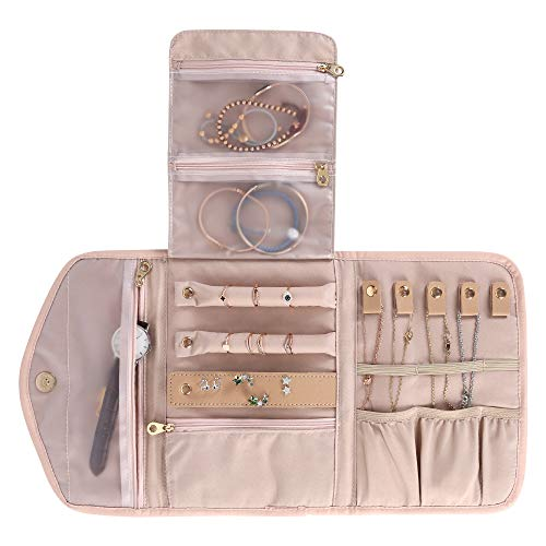 KUAK Travel Jewellery Organiser, Portable Jewellery Organiser Bag with Zippered Pockets, Jewellery Storage Roll for Rings, Earrings, Necklaces, Bracelets, Pink