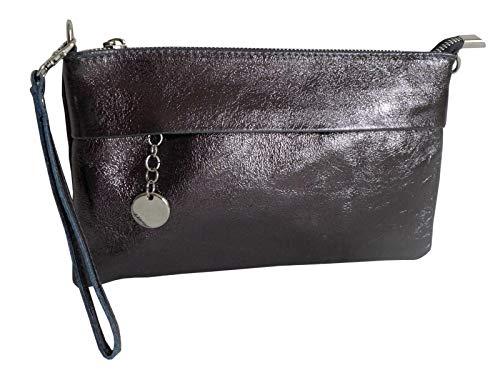 N / A Coole kleine Handtasche Clutch anthrazit im stylischen metallic Look Tasche