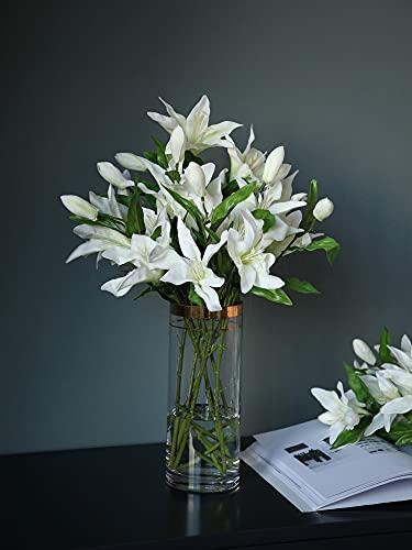 Hwjmy Flor de lirio simulación de flores falsas ramo de flores de salón mesa de flores blancas decorativas diafragma conjunto de adornos (color: 6 jarrones de tinta verde de lirio rosa)