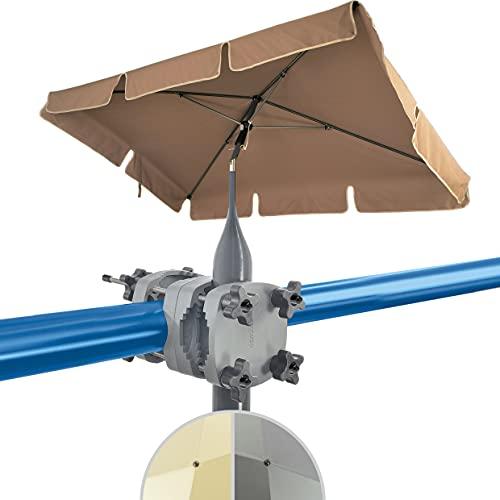 4smile Set – Sonnenschirm Balkon SunnyShade + Sonnenschirmhalter Balkongeländer SunnyGuy – UV 50+ Balkon-Sonnenschirm rechteckig, 200x125cm – Schattenwunder Komplettset