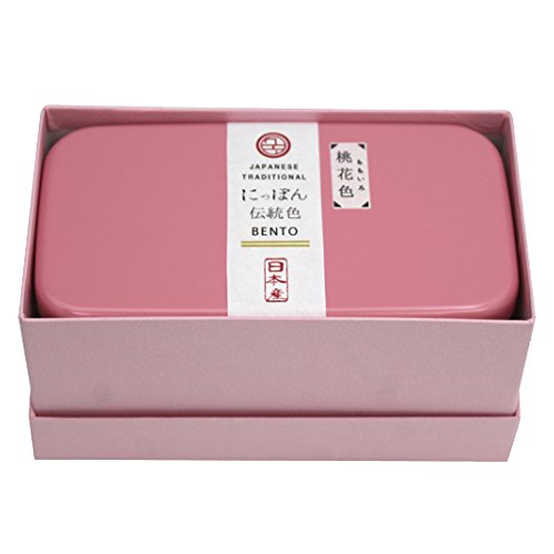 padou にっぽん伝統色長角2段弁当 (桃花色) スリム ギフト プレゼント シンプル 日本製 (500ml)