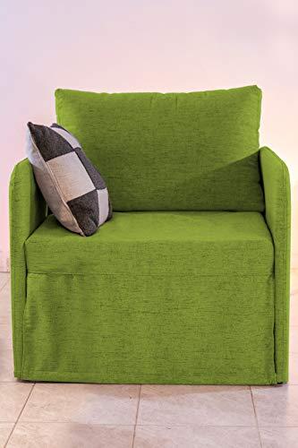 Ponti Divani - Poltrona Letto Compact Salva Spazio - Poltrona Letto Artigianale, Made in Italy con Materasso in Poliuretano espanso Italiano di Alta qualità - Poltrona Letto Singolo - Tessuto (Verde)