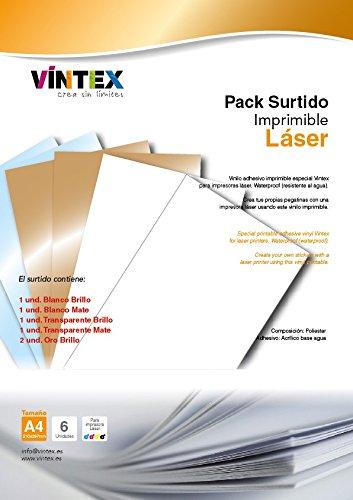 Vinilo Adhesivo Imprimible Premium Surtido para Impresora Láser