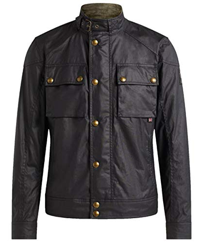Belstaff Men's Racemaster Water Resistant Waxed Cotton Jacket, Size 52 EU - Black