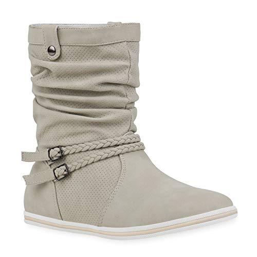 Bequeme Damen Stiefel Schlupfstiefel Lochungen Flache Boots Leder-Optik Metallic Schuhe 68688 Creme 40 Flandell