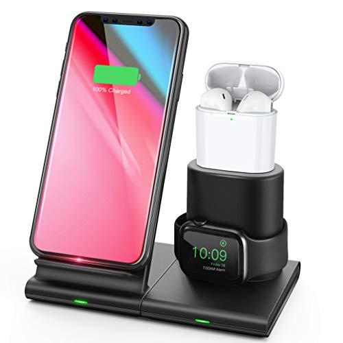 allcaca Wireless Charger 3 in 1 Charge Ständer Fast Qi Ladestation für iPhone Apple Watch Airpods und Smartphone