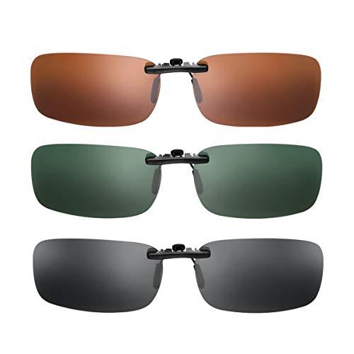 VOSAREA Sonnenbrille Clip, 3er Pack Sonnenbrille Aufsatz Polarisationsbrille Clip mit Brillen-Etui - geeignet für Frauen und Männer