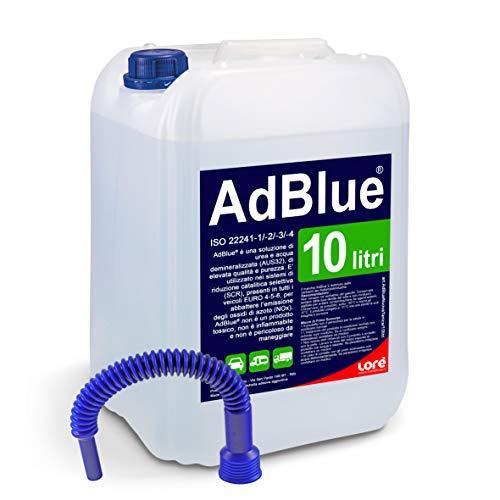 10 Litri AdBlue Additivo Gas di Scarico Motori Diesel con Tubo di Riempimento - Made in Italy Conforme ISO 22241