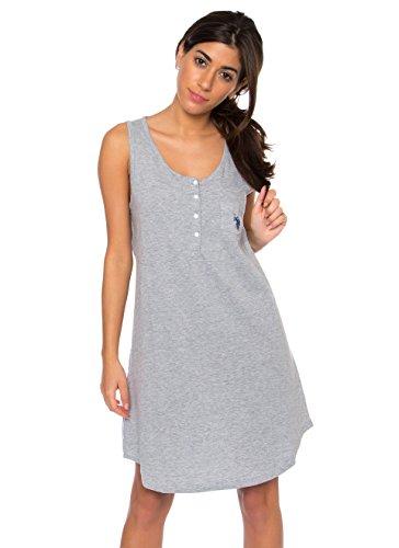 US Polo Assn. Women's Pajamas Dormshirt Comfortable Scoopneck Tank with Woven Back Sleep Shirts for Women Heather Grey Small