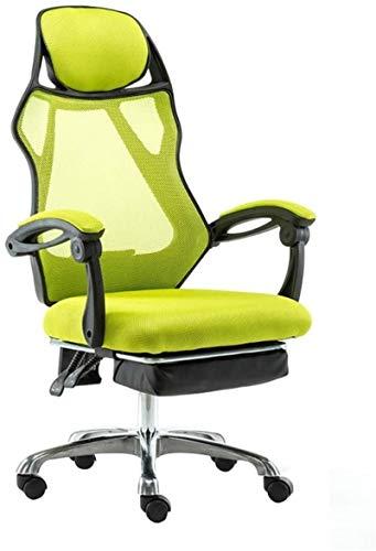 YONGYONGCHONG Silla de oficina, silla de ordenador, respaldo alto, silla para juegos, con reposapiés y silla giratoria ergonómica, color verde, tamaño: marco negro