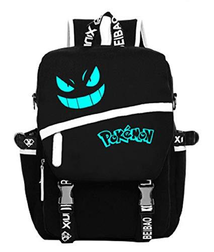 Augyuess luminoso tela scuola borsa zaino Zaino Bookbag laptop bag zaino nero 1 Medium
