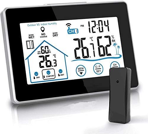 vonivi Wetterstation Funk mit Außensensor Weather Station Digital Thermometer Wecker und Nachtlich Thermometer Hygrometer Innen und Außen Raumthermometer Hydrometer Feuchtigkeit mit Wettervorhersage
