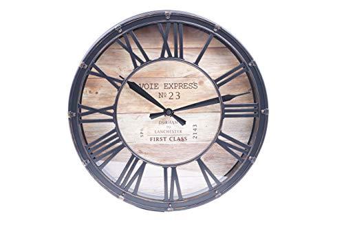 EMAKO Wanduhr mit römischen Zahlen Deko Uhr Vintage Stil Wanddeko Holz imitiert rund braun Ø 39 cm