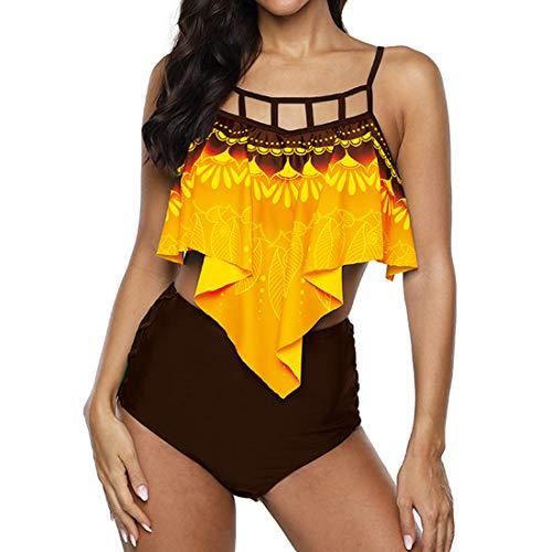 Bikini High Waist Women's Two-Piece Swimsuit Set High Waist Bikini Pants with Long Flounce Sexy Printed Elegant Monokini with Adjustable Straps Swimwear for Vacation Beachwear S