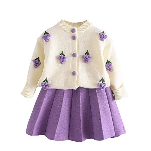 Conjuntos de cárdigan con bordado de flores, con cuello redondo acanalado, manga larga + conjuntos de falda plisada sólida de 1 a 6 años