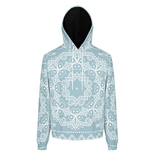 xhjq88 heren trui tiener student poeder blauw mandala logo personaliseren - trui met capuchon los fit herfst tops