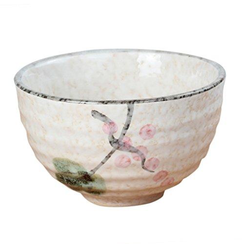 Bol à Thé Cérémonie Japonaise Matcha en Céramique Motif Fleur Pivoine/Lotus/Nuage/Cerise-Multicolore - lotus, 11.3x4.8x6.9cm