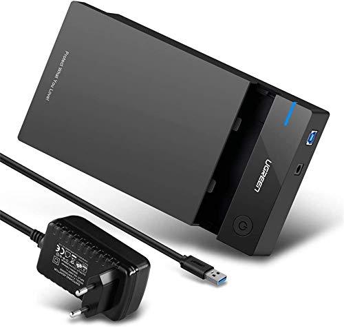 "UGREEN Carcasa Disco Duro 3.5"", Caja Disco Duro USB 3.0 con UASP para HDD SSD SATA I/II/III, 16 TB MAX, Comaptible con PC, PS5, Xbox X/S, PS4 (Cable USB 3.0 y Adaptador de Corriente 12V 2A Incluido)"