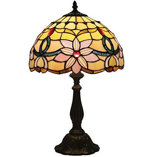 GUOGEGE Vintage Tiffany Tischlampen 49Cm Hoch, Tiffany Tischlampe Antik Original, Glasmalerei Lampenschlafzimmer Blumenmuster