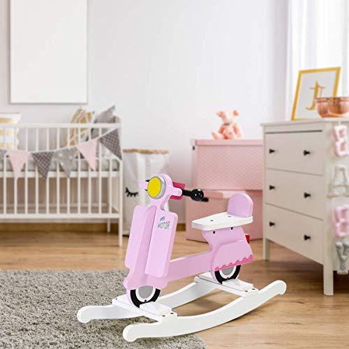 Costzon Kids Rocking Horse, Wooden Ride On Toy for Baby Toddler Boys & Girls, Motorcycle Rocker Chair Flat Seat (Pink)