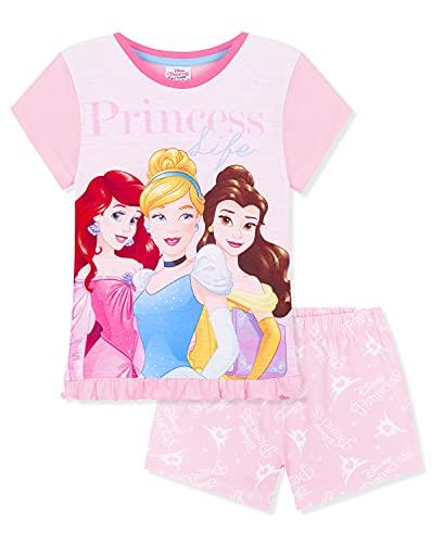 Disney Pijama Niña, Conjunto Verano Niña de Princesas 2 a 12 Años (Rosa, 4-5 años)