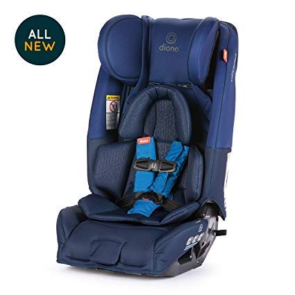 Diono Radian 3RXT All-in-One Convertible Car Seat - Extended Rear-Facing 5-45 Pounds, Forward-Facing to 65 Pounds, Booster to 120 Pounds - The Original 3 Across, Blue