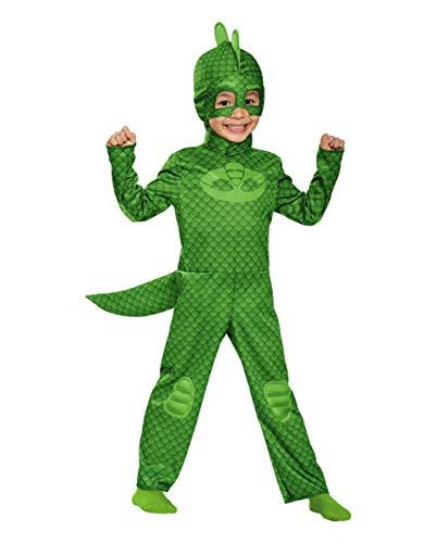 Horror-Shop PJ Masks Gekko Classic Kinderkostüm für Fans der Disneyserie PJ Masks - Pyjamahelden 4-6 Jahre