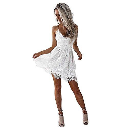Hey~Yo Damen Kleider Sommer Casual Vintage Spitze V Ausschnitt Kleid Träger Strandkleider Mini Spitzenkleid Rückenfreies Clubwear-Kleid Weiß (36)